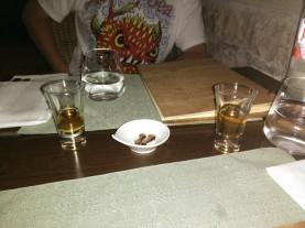 Carob fruit and brandy